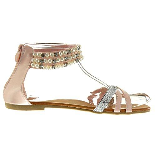 Angkorly - Chaussure Mode Sandale femme peau de serpent perle bijoux Talon bloc 1 CM - Rose