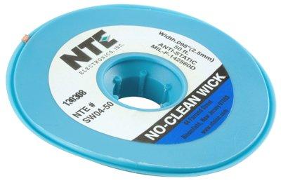 "NTE Electronics SW04-50 No-Clean Solder Wick with Anti-Static Bobbin, 4 Blue.098"" Width, 50"