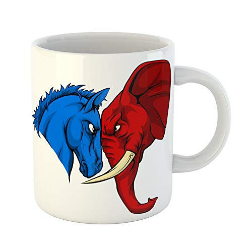 Emvency Coffee Tea Mug Gift 11 Ounces Funny Ceramic Blue Donkey and Red Elephant Facing Off American Politics Election Animal Gifts For Family Friends Coworkers Boss Mug