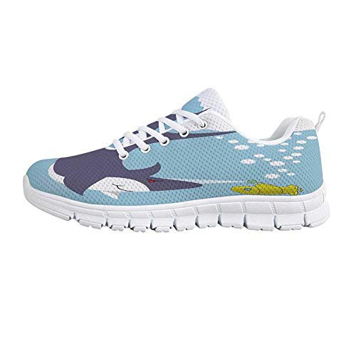 - TecBillion Yellow Submarine Comfortable Sports Shoes,Shark with Vessel in Ocean Bubbles Under Sea Theme Animals Cartoon for Men & Boys,US Size 6.5