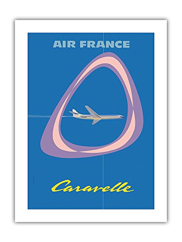 - Caravelle - France - Caravelle F-BHRB Lorraine Jet Airliner - Vintage Airline Travel Poster by Jean Colin c.1959 - Premium 290gsm Giclée Art Print 18in x 24in