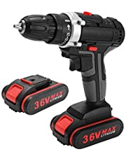 36V Multifunctional Electric Impact Cordless Drill High-power Lithium Battery Wireless Rechargeable Hand Drills Home DIY Electric Power Tools