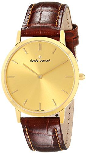 Claude Bernard Men's 20061 37J DI Classic Gents - Slim Line Analog Display Swiss Quartz Brown Watch