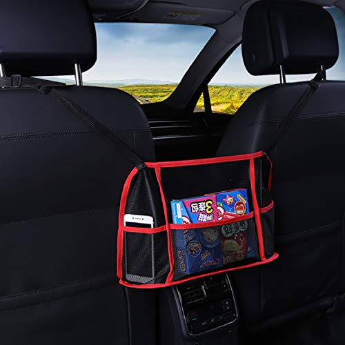 Yibesi Car Net Pocket Handbag Holder,Car Mesh Organizer,Advanced Seat Back Storage Netting Bag for Purse Storage Phone Documents Pocket,Tissue Holder,Barrier of Backseat Pet Kids (Black/Red)