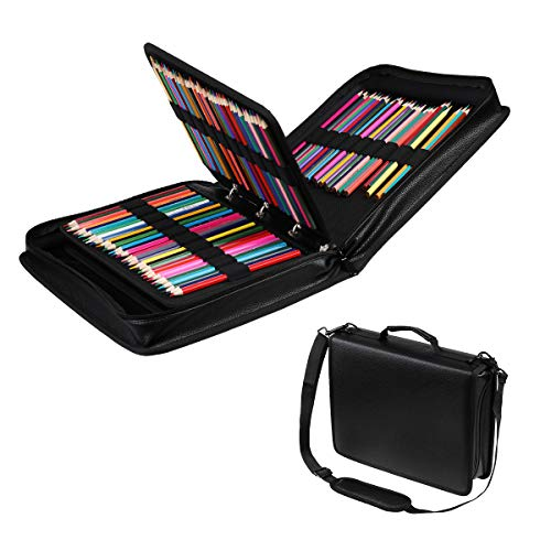 210 Slots Colored Pencil Case PU Leather Pencil Holder Large Capacity Sleeve Pen Bag Carrying Case for Prismacolor, Watercolor Pencils, Markers, Colored Pencils, Gel Pens, Cosmetic Brush Organizer