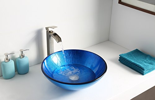 Tempered Glass Vessel Sink - Lustrous Blue - Clavier Series LS-AZ027 - ANZZI by ANZZI (Image #2)