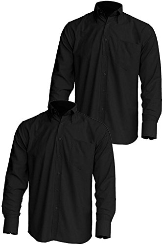 Oxford Long Sleeve Casual & Business Shirt (Small, 2pk POPLIN- Black) (Poplin Oxfords)