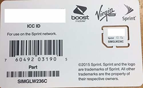 Sprint UICC ICC Micro SIM Card SIMGLW236C for Sprint, Boost, Virgin, Ting, Flash, Ring Plus (Micro Uicc Sim Card)