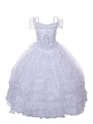 WonderfulDress White off Shoulder Satin First Communion Dress-White-12 by WonderfulDress