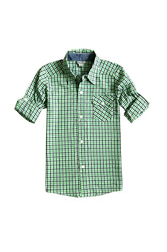 Bienzoe Big Boy's Cotton Plaid Roll Up Button Down Sports Shirts,Green,7/8 ()