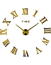 CLISPEED Mirror Surface Wall Clock Frameless Diy Wall Clock Roman Numbers Adhesive Modern for Living Room (Gold Without Batteries)