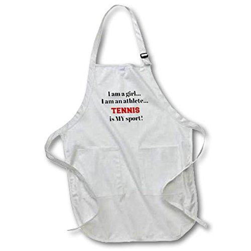 Luv Letters Birds (3dRose Xander inspirational quotes - I am a girl, I am an athlete, tennis is my sport, black red letters - Full Length Apron with Pockets 22w x 30l (apr_265940_1))