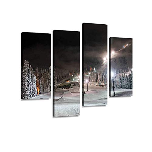 Soefipok Stevens Pass, Washington Ski Resort Terrain Park at Night Canvas Wall Art Hanging Paintings Modern Artwork Abstract Picture Prints Home Decoration Gift Unique Designed Framed 4 Panel ()
