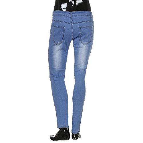 Dei Cher I E Rt Denim Elastico Magro Da Strappati Classiche Ragazzi Pantaloni Del Nastrate Uomini Fori Uomo Jeans Crepe Slim Fit Retrò Biker Hellblau Foro 6RZRUq