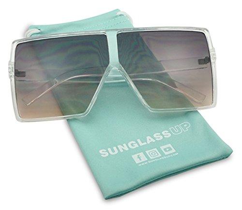 Big XL Large Oversized Super Flat Top Square Two Tone Color Fashion Sunglasses (Transparent / Black Lens, - Sunglassspot