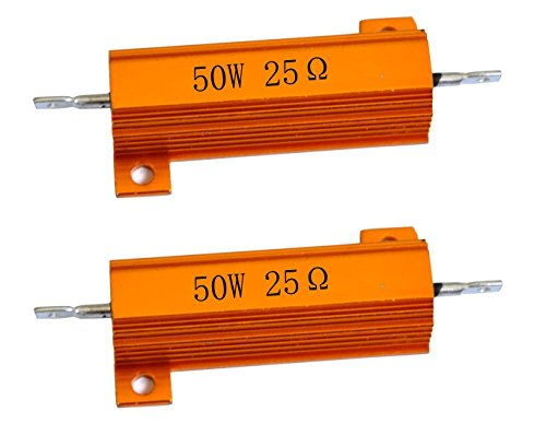 - Cutequeen 2PCS 50W Watt 25 Ohm Aluminum Case Wirewound Chassis Mounted Resistor (Pack of 2)