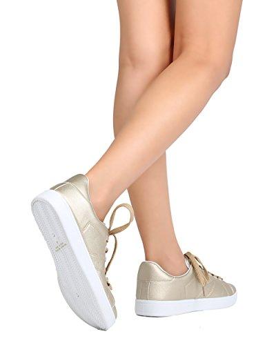 Uppdatera Fg19 Kvinnor Metallisk Läder Rund Tå Snörning Sneaker - Champagne