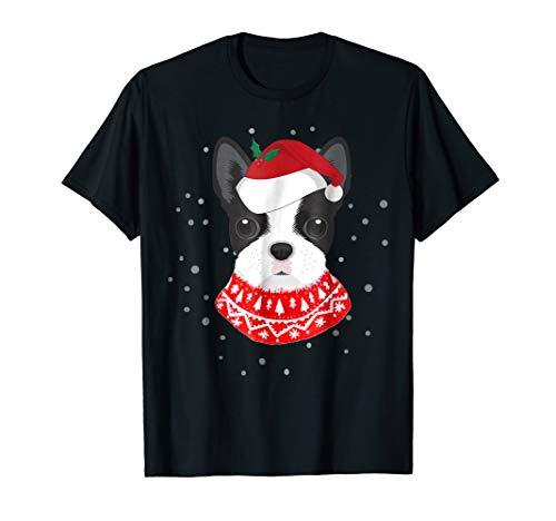 (Mens Boston Terrier With Santa Hat T-Shirt Medium Black)
