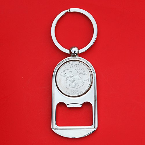 US 2004 Michigan State Quarter BU Uncirculated Coin Silver Tone Key Chain Ring Bottle Opener NEW