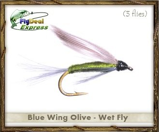 Fly Fishing Flies - BLUE WING OLIVE WET FLY - Wet Fly (3-pack)