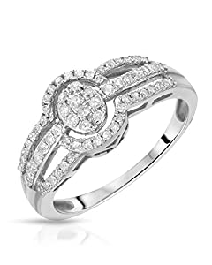White Gold 0.35 CTW Color H-I, I2 Diamond Women Ring. Ring Size 6.5. Total Item weight 2.3 g.
