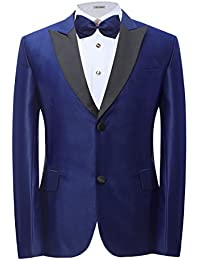Men's Wine Red/Royal Blue Suits 2 Piece Slim Fit 2 Button Closure Collar Tuxedo