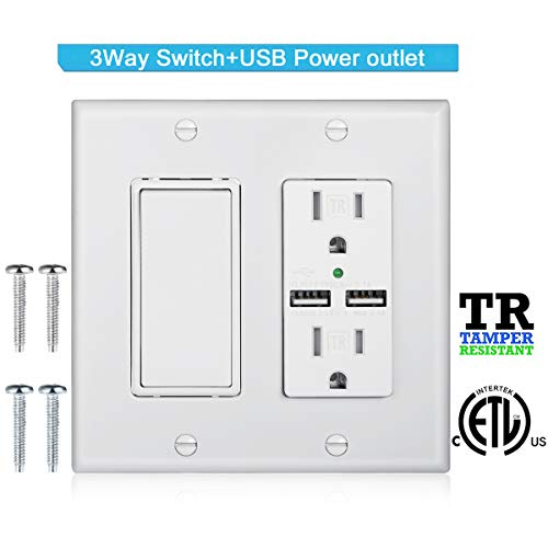 DBillionDa 3-Way Light Switch,USB Outlet Wall Plate(3.1A highspeed Charge) with Decorator Rocker Light Switch, 15A 120V/277V, 3 Wire, Grounding Screw, UL Listed, White ()