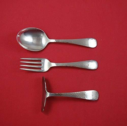 Covington Hammered by Gorham Sterling Silver Baby Set 3-Piece Spoon Fork Pusher (Sterling Fork Silver Gorham)