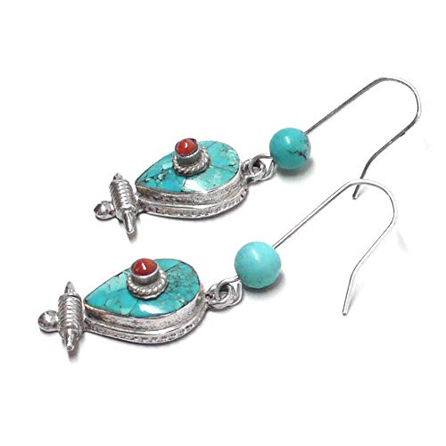 Nepal Turquoise Cabochon Red Coral Sterling Silver Earrings