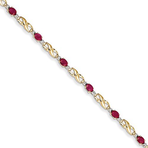 ICE CARATS 14k Yellow Gold Diamond Composite Red Ruby Oval Bracelet 7 Inch Infinity Gemstone Fine Jewelry Ideal Mothers Day Gifts For Mom Women Gift Set From Heart (Yellow Gold Ruby Bracelet 14k)