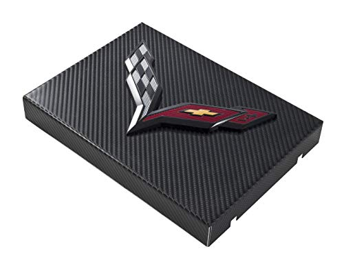 Dress Up Fuse Box Cover - C7 Corvette Black Carbon Fiber Wrapped Fuse Box Cover - Black Crossed Flags