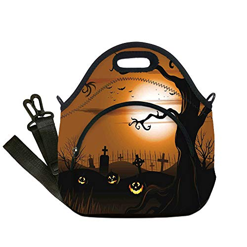 (Insulated Lunch Bag,Neoprene Lunch Tote Bags,Halloween Decorations,Leafless Creepy Tree with Twiggy Branches at Night in Cemetery Graphic,Brown Tan,for Adults and children )