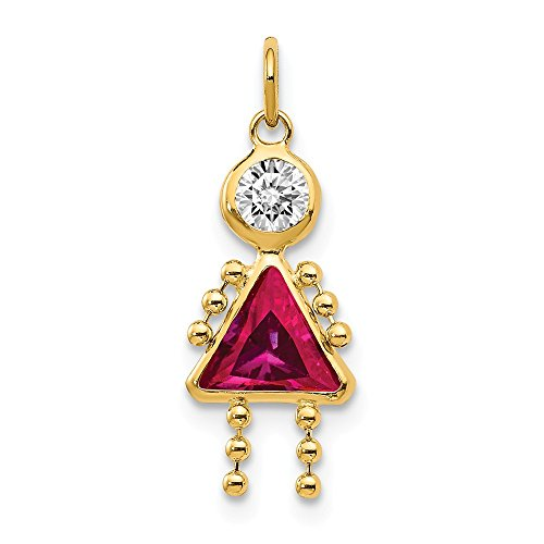 14k Yellow Gold July Girl Birthstone Pendant Charm Necklace Kid Fine Jewelry Gifts For Women For Her