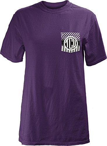 Three Square by Royce Apparel NCAA TCU Horned Frogs Junior's Lollipop Comfort Colors Short Sleeve T-Shirt, Purple, Large