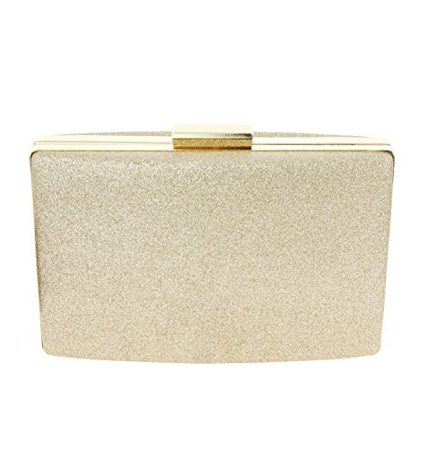 - SP Sophia Collection Women's Glitter Structured Evening Hand Clutch Purse for Special Occasions in Shimmer Gold