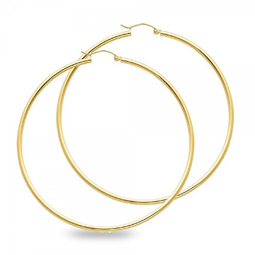 Solid 14k Yellow Gold Big Round Hoop Earrings Polished Finish French Lock Genuine Classic 65 x 2 (14k Gold Large Hoop Earrings)