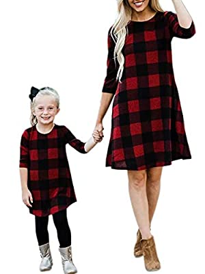 Pengfei Mommy and Me Dresses Buffalo Plaid Loose 3/4 Sleeve Round Neck Matching Mini Dress with Pockets