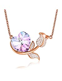 Angelady Heart Shaped Rose Flower Necklace, Crystals from Swarovski, Rose Gold Necklace for Women Gifts for Her