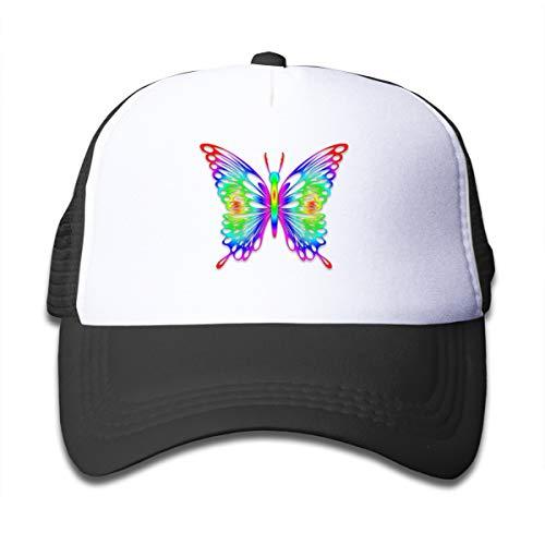 Rainbow-Butterfly-Wallpaper-for-Desktop-with-Animation Boys Trucker Hats,Youth Mesh Caps,Girls Snapback Baseball Cap Hat