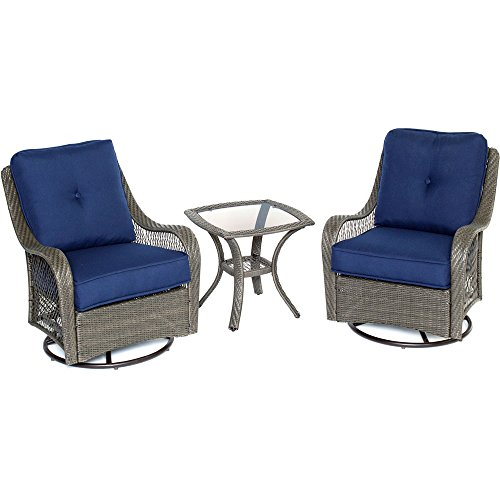 Hanover ORLEANS3PCSW-G-NVY Orleans 3 Piece Swivel Rocking Chat Set, Navy Blue Outdoor Furniture (Front Porch Small Furniture Ideas)