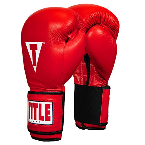 TITLE Classic Hook-and-Loop Leather Training Gloves, Red, 18-Ounce