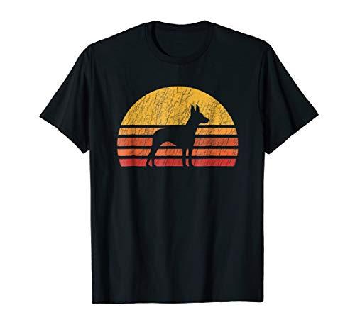 Distressed Retro Sun Silhouette Rat Terrier T-shirt