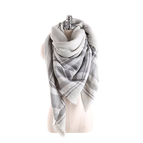 Surblue Warm Stylish Elegant British Style Color Blocking Plaid Shawl Scarf Blanket, Grey
