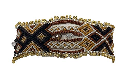 Mayan Arts Friendship Bracelets, Women's Jewelry, Woven, Beaded, Black, Yellow, and Light Brown Tones, Magnetic Closure, Natural, Guatemala 1 x 6.75 Inches