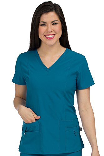 Med Couture Activate Women's V-Neck Princess Seam Scrub Top, Caribbean, X-Large from Med Couture