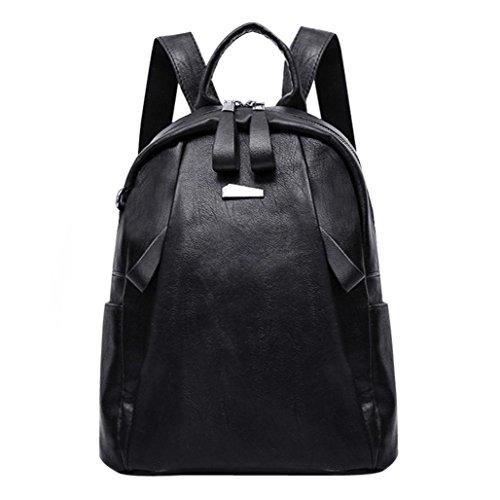 viaje de cuero de la moda de escuela la mujeres de negro la mochila de la de zarupeng mochila muchacha las del Bolso del x7Hf7qw0