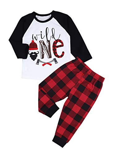 Baby 1st Birthday Outfits Wild One Long Sleeve T-Shirt with Red Plaid Pant and Hat (B-Black, 12-18 Months)