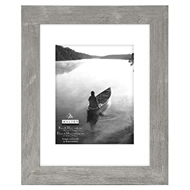 Malden International Designs 11 by 14-Inch Matted Picture Frame Which Holds 8 by 10-Inch Photo, Manhattan Grey