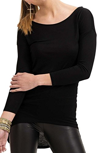 trueprodigy Casual Damen Marken Long Sleeve Kleid einfarbig Basic Oberteil Cool Stylisch Rundhals Langarm Slim Fit langes Langarmshirt für Frauen