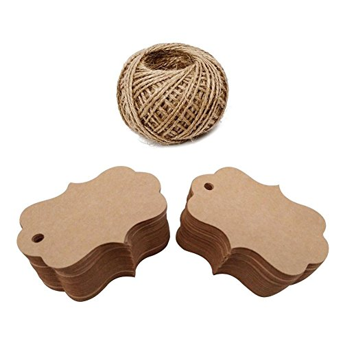 Scrapbooking Tags - Giveet 100 PCS Kraft Paper Gift Tags with Free Cut String, Candy Box Favor Hang Tags, Christmas Favor Party Supply Blank Cards with 30M Jute Twine (Brown, 7x5cm)